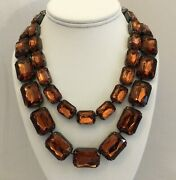Pair Of 2 Joan Rivers Chunky Amber Color Acrylic Stones In Black Metal Necklaces