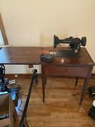 Vintage 1947 Singer 66 Sewing Machine Built-in Table Working Rare