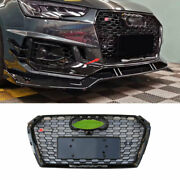Fit For 2017-2019 Audi A4 B9 Abs Black Front Center Mesh Grille Grill Cover Trim