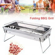 Bbq Barbecue Grill Folding Portable Cooker Garden Camping Outdoor Easy To Clean