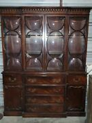 Antique Chippendale Style Mahogany Bubble Glass Breakfront With Butler's Desk