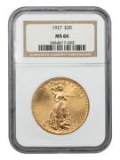 1927 20 Ngc Ms66 - Gem Type Coin - Saint Gaudens Double Eagle - Gold Coin