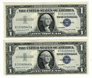 1957 A 1 Dollar Silver Certificate Gem Lot Of 2 Cons. Serial/price For Each Lot