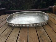 Vintage Silver Plated Oval Gallery Tray Sheffield Last Chance