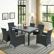 Us Outdoor 7 Piece Wicker Dining Table Set Rattan Furniture With Beige Cushion