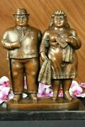 Bronze Sculpture - Botero Style Oversized Man Amp Woman - Contemporary Abstract