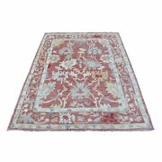 4and0391x6and0397 Red Angora Oushak With All Over Leaf Hand Knotted Pure Wool Rug R68383