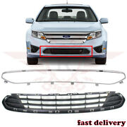 Fits 2010-2012 Ford Fusion Front Bumper Lower Grille And Chrome Molding Trim 2pcs
