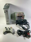 Xbox 360 White Console Bundle Controller Cables 60gb Hd 10 Games A