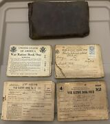 Vintage Wwii War Ration Leather Pouch And Books With Stamps