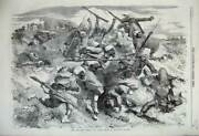 Old Antique Print 1859 War Turcos Fighting Battle Rifled Spear Field Army 19th