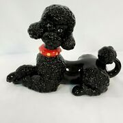 Vintage Atlantic Mold Ceramic Black Poodle Figurine Red And Yellow Collar Mint