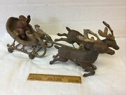 Vintage Cast Iron Santa Claus In Sleigh And 2 Reindeer Large Size Hubley Type
