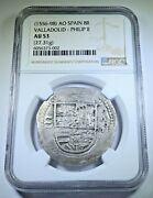Ngc Au-53 1500and039s Philip Ii Valladolid Spanish Silver 8 Reales Antique Cob Coin