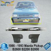 Front Bumper Chrome Steel And Ends For 1986-93 Mazda Pickup B2600 B2200 B2000 2wd