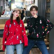 Christmas Womens Mens Couple Pullover Sweaters Winter Lovers Jumpers Loose Vogue