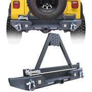 Fits 1987-2006 Jeep Wrangler Tj Yj Rear Bumper With 4xled Lights+2xd-rings