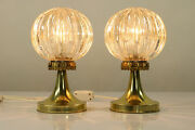 Pair Bedside Lamps Amber Glass Ball On Tulip Stand Vintage Mid Century 1960's
