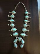 Vintage 1950s Zuni Sterling Silver And Turquoise Cluster Squash Blossom Necklace