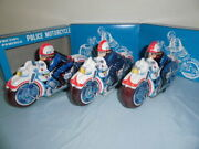 Things At The Time Tin Toy Toys Motorcycle Police Bike Set Of Made In Japan