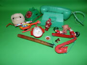 F1712 Showa Retro At-time Telephone Piggy Bank Trumpet Santa Tin Toy Helicopter