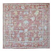 9and03910x9and03910 Angora Oushak Soft Wool Coral Red Hand Knotted Square Rug R68485