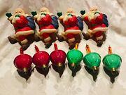 Vintage Christmas Santa Blow Molds And Bubble Screw In Lights Glass 10 Pieces