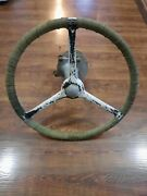 Vintage Antique Boat Steering Wheel And Hub Drum Pulley Assembly Complete