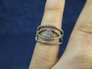 Silver And Crystal Openwork Flower Elegant Band Ring Size 7.5