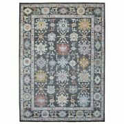 9and0398x13and0397 Charcoal Black Soft Afghan Wool Angora Oushak Hand Knotted Rug R68497