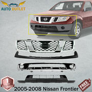 New Front Bumper Chrome + Grille + Filler And Valance For 2005-08 Nissan Frontier