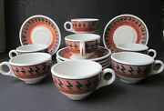 Scammelland039s Aztec Trenton China Cups And Saucers Lot Of 13 American Indian Design