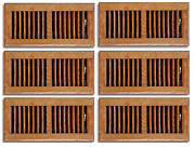 Pack 4 X 10 In. Oak Wood Floor Diffuser Grill Register Vent Cover Heating Ac