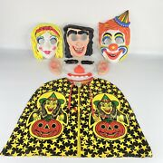 Lot Of Vintage Neon Face Masks And Ben Cooper Vinyl Costume Cape Witch Clown Girl