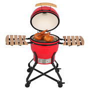 18in Round Steel Ceramic Barbecue Charcoal Grill Red