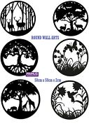 Primus Black Metal Round Tree Flower Forest Wall Art For Home Garden Gift New