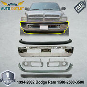 New Front Bumper Chrome Steel + Covers Kit For 1994-02 Dodge Ram 1500 2500 3500