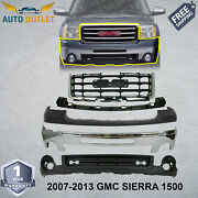 Front Bumper Chrome Steel + Grille+upper And Valance For 2007-2013 Gmc Sierra 1500