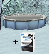 24' Round Above Ground Winter Pool Cover + Winterizing Chemical Kit