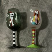 The Nightmare Before Christmas Wine Glasses 2 Pre-owned In Good Condition