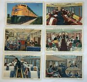 6 1940s Chicago And North Western Railroad Bar Lounge Lunch Train Postcard Vintage