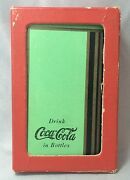 1936 Complete 52 Green Coca Cola Soda Playing Cards And Box Original Vintage