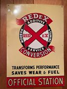 Vtg Tin Metal Sign Redex Oil Can Additive Antique Gas Service Station 1950's Nic