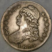 1814 Capped Bust Silver Half Dollar Scarce Magnificent Beauty Single Leaf O-105a