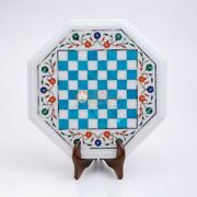 Marble White Top Decorative Chess Set Indoor Best Game Turquoise Stone Art Decor