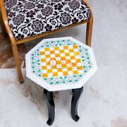 Marble White Top Chess Inlaid Game With Wooden Stand Mosaic Inlaid Art Decor Top