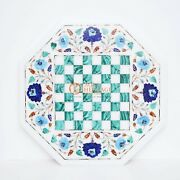 Marble White Top Chess Indoor Game With Wooden Stand Malachite Inlaid Stone Arts