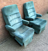 Vintage 1990s Custom Van Blue Green Cloth Front Seats Captain Chairs Chevy Ford