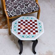 Marble White Handmade Decorative Chess Set With Wooden Stand Mosaic Stone Decor