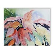 Kavka Designs Abstract Leaves Purple/green/orange/red Canvas 16 X 20